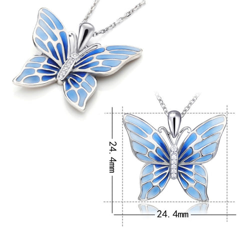 Flying Blue Butterfly Silver Necklace