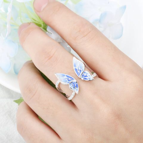 Flying Blue Butterfly Silver Ring