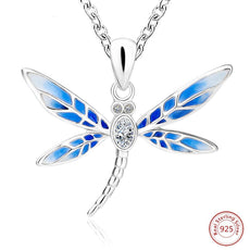 Flying Blue Dragonfly Silver Necklace