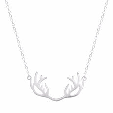 925 Sterling Silver Lovely Deer Antler Necklace