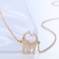 Double Giraffe Heart Necklace