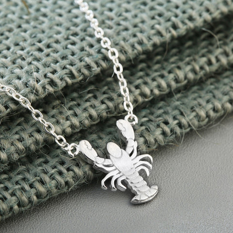 925 Sterling Silver Lovely Lobster Necklace
