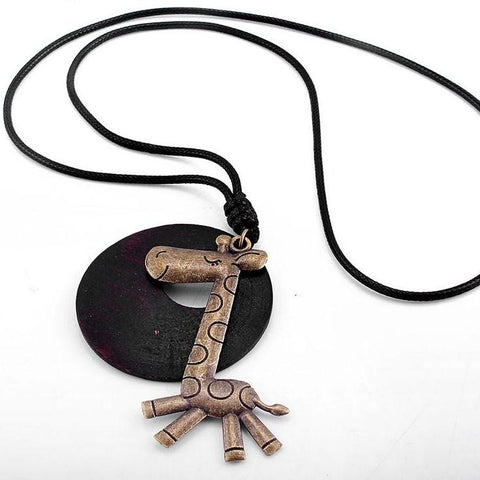 wood Giraffe Necklace