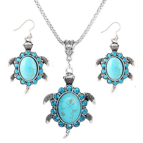 Turquoise Rhinestone Turtle Necklace And Earrings Set