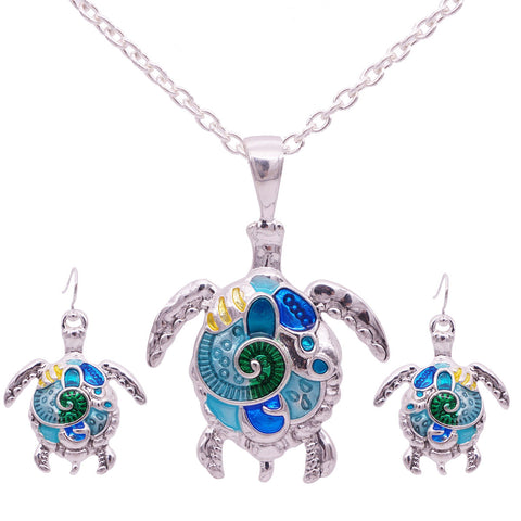 Turtle Necklace and Earrings Set