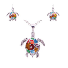 Turtle Necklace and Earrings Set  (3 Color Styles)