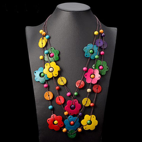 Colorful Wood Flower Necklace