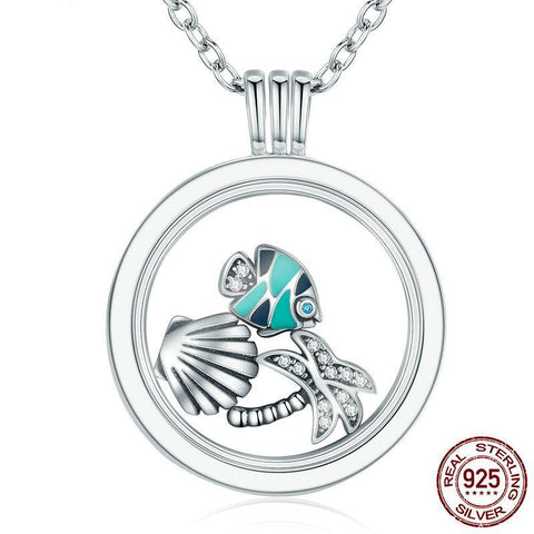 Floating Fish in Paradise  Silver Necklace