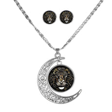 Lion Round Cameo&Moon - Necklace and Earring Set