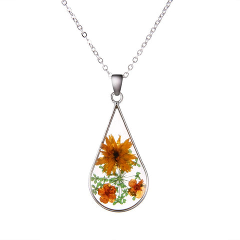 Dried Orange and Green Flower Teardrop Shaped Necklace