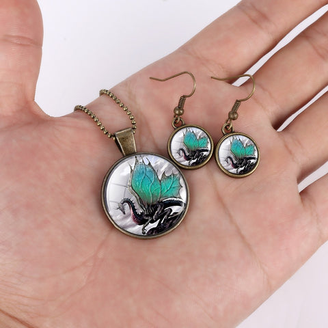 Dragon Round Cameo - Necklace and Earring Set