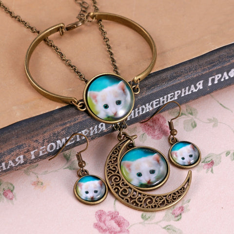 Cute Cat Round Cameo - Necklace&Earrings&Bracelet Set