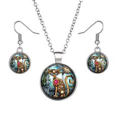 Cat Round Cameo - Necklace and Earring Set