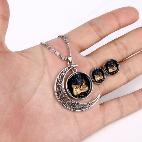 Cat Round Cameo&Moon - Necklace and Earring Set