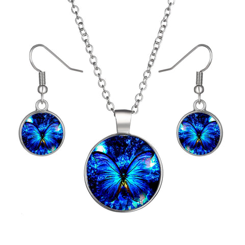 Blue Butterfly Round Cameo - Necklace and Earring Set