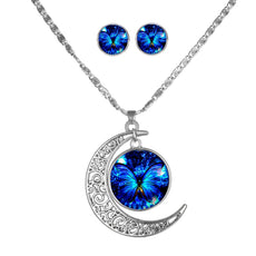 Blue Butterfly Round Cameo&Moon - Necklace and Earring Set