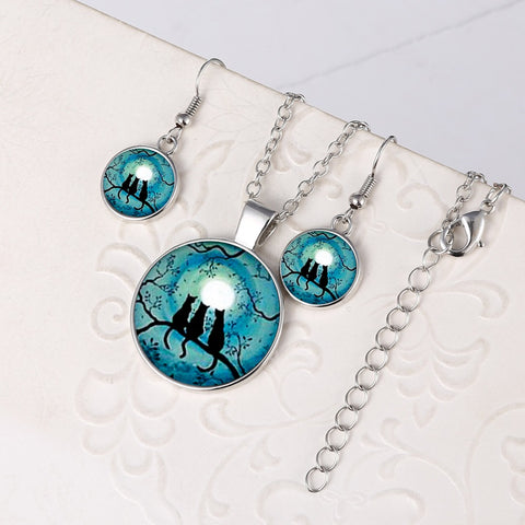 Three Cats Glow In the Dark Round Cameo - Necklace and Earring Set