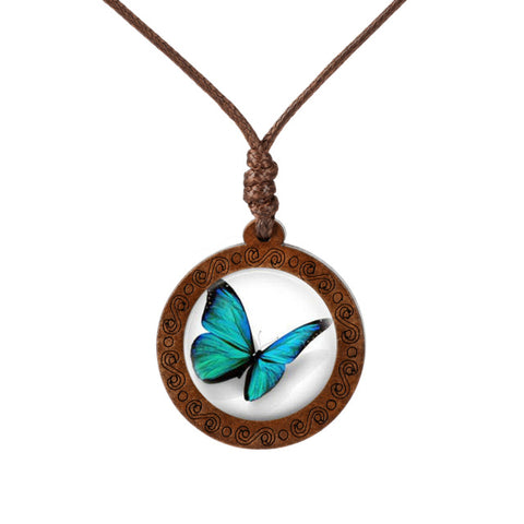 Colored Butterfly Wood Necklace