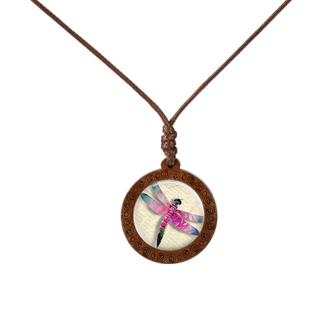 Colored Dragonfly Wood Necklace