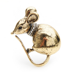 Free Retro Mouse Brooch (Gold Color)
