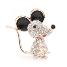 Free Happy Mouse Brooch (Gold Color)