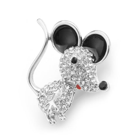 Free Happy Mouse Brooch (Silver Color)