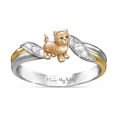 """I love My Kitty"" sand cat ring"