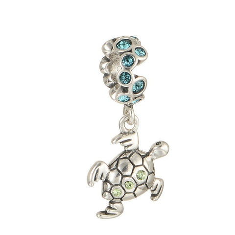 Beads - Animal Sterling Silver Hanging Turtle Bead