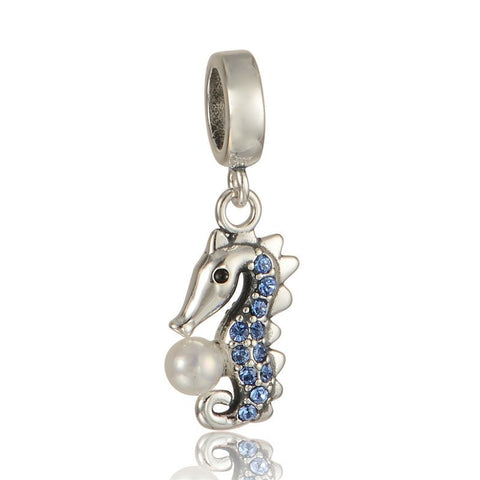 Beads - Animal Sterling Silver Pearl Seahorse Bead