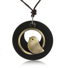Singing Bird Black  Wood Necklace