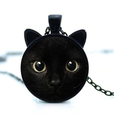 Black Cat  Round Cameo Necklace