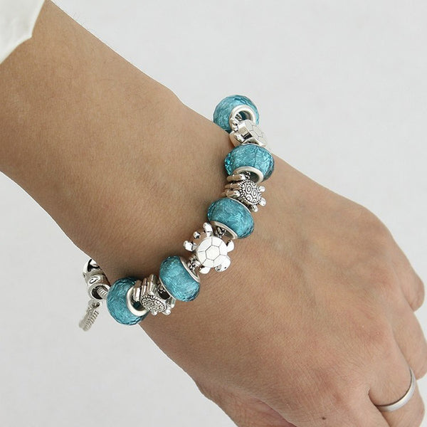 Blue Handmade Sea Turtle Charm Bracelet Helping Animals
