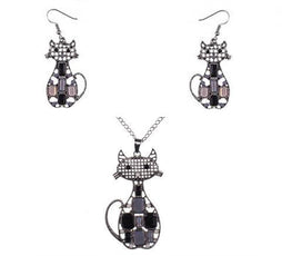 Black Cat Necklace And Earrings Set