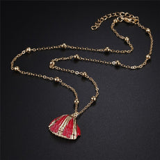 Gold Red Shell Necklace