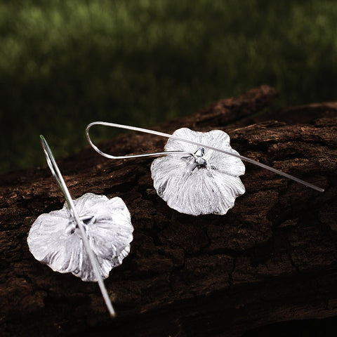 l 925 Sterling Silver Flower Earrings