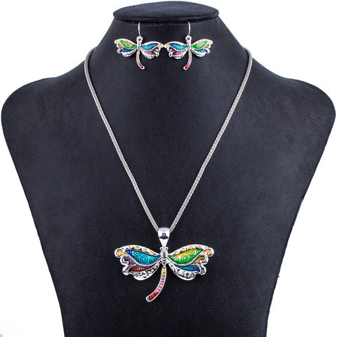Jewelry Set - Dragonfly Necklace And Earrings Set