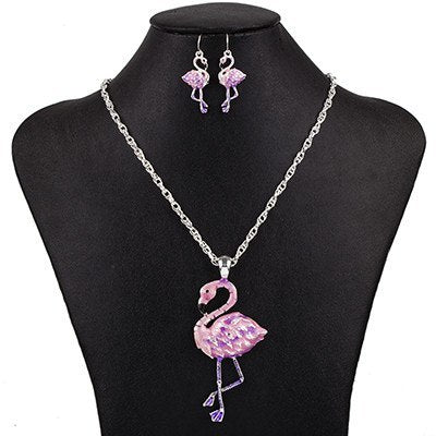 Jewelry Set - Flamingo Necklace And Earrings Set