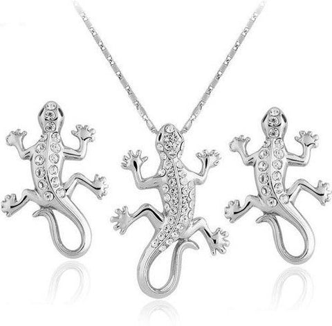 Jewelry Set - Gecko Necklace And Earrings Set