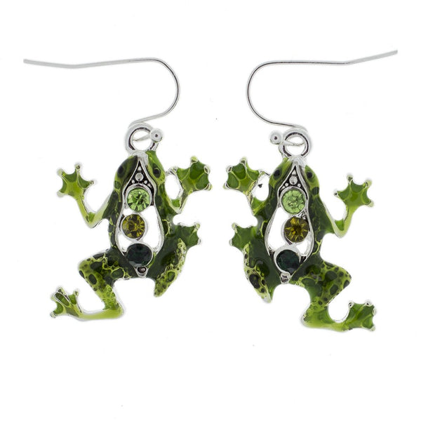 Jewelry Set - Green Frog Necklace And Earrings Set