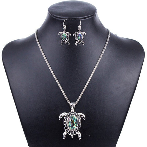 Jewelry Set - Green Turtle Necklace And Earrings Set