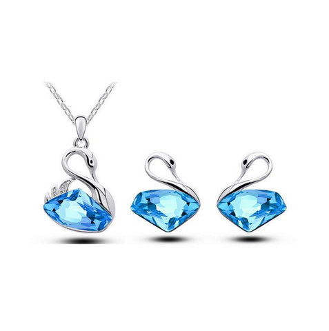 Jewelry Set - Swan Necklace And Earrings Set