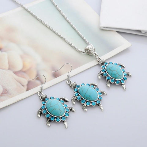 Jewelry Set - Turquoise Rhinestone Turtle Necklace And Earrings Set