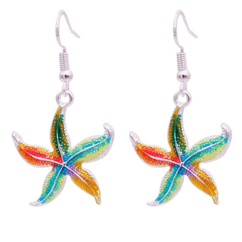 Linear - Get A Pair Of Enamel Starfish Matching Earrings For $9.95!