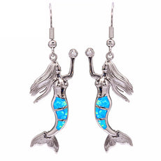 Blue Fire Opal Mermaid Earrings