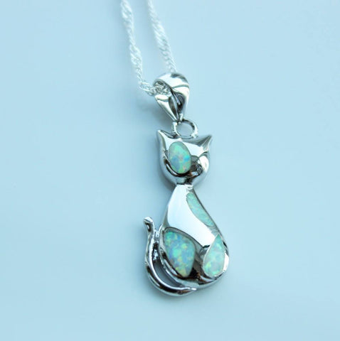 Necklace - Blue Fire Opal Cat Necklace