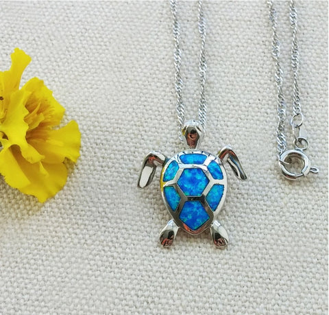 Necklace - Blue Opal Sea Turtle Necklace