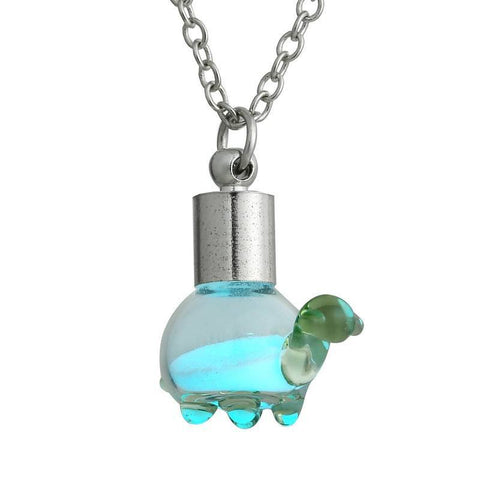 Necklace - Cute Green Crystal Turtle