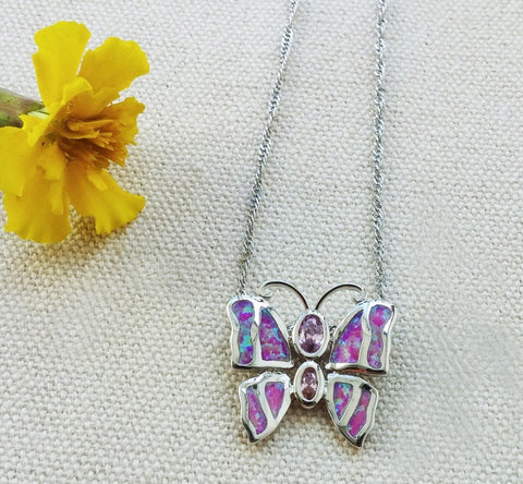 Necklace - Fire Opal Butterfly Necklace