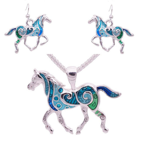 Horse Necklace and Earrings Set  (2 Color Styles)