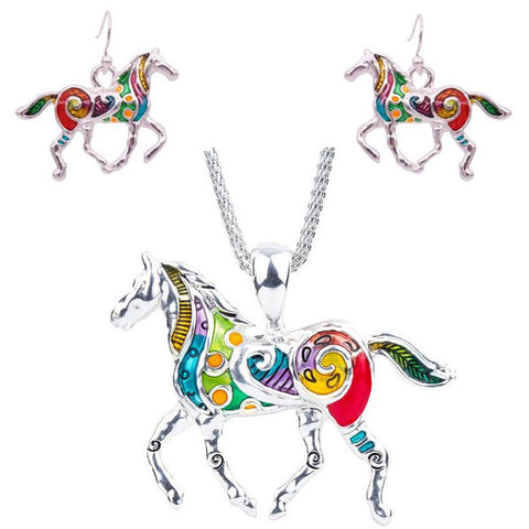 Wholesale Horse Necklace and Earrings Set (12x Pack)